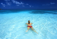 Swimming woman Royalty Free Stock Image
