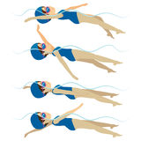 Swimming Woman Backstroke Style Royalty Free Stock Image