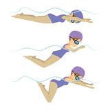Swimming Woman Breaststroke Style Royalty Free Stock Photo