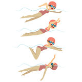 Swimming Woman In Different Styles Stock Photo