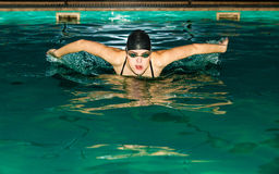 Swimming woman in pool. Swimming. Competition and recreation. Woman swimmer breathing. Poolside Royalty Free Stock Photo