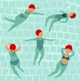 Swimming Women in Pool Royalty Free Stock Image