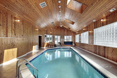 Swimming with wood paneled ceiling Royalty Free Stock Photo