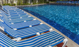 Swimmingpool in Cancun, Riviera-Maya, Mexiko Stockfoto