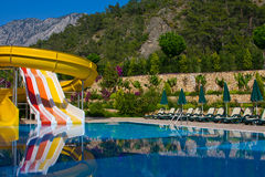 Swimmingpool in der Türkei stockbilder