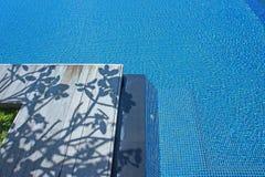 Swimmingpool i drzewny cień na drewnianym lecie Obraz Royalty Free