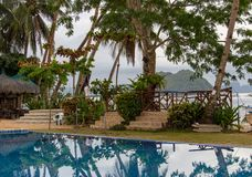 Swimmingpool mit Palmen im Luxushotel Tropischer Erholungsort auf Insel Pool auf Meerblickhintergrund Exotisch entspannen Sie sic stockbild