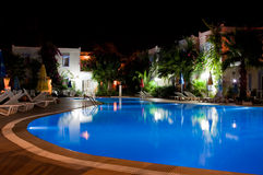 Swimmingpool at night. A swimming pool at night stock photos