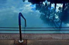 Swimmingpool-reflektierende Palmen Stockbild