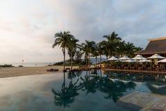 Swimmingpool und Kokosnussbäume Lizenzfreie Stockbilder
