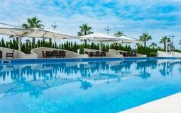 Swimmingpool vor Palmen und blauem Himmel Lizenzfreies Stockfoto