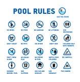Swimmingpoolregeln Satz von Ikonen und von Symbol für Pool stock abbildung