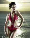 swimsuit красного цвета девушки Стоковое фото RF