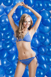 Swimsuit and balloons in blue, Royalty Free Stock Image