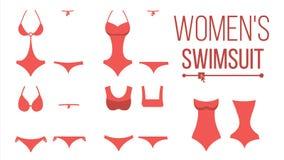 Swimsuit Design Set Vector. Fashion Bikini. Summer Beach Clothing Underwear. Female Stylish Swimwear Silhouettes. Isolated Illustration Royalty Free Stock Photos