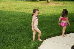 Swimsuit Girls. Cute little girl dressed in her swimsuit Royalty Free Stock Image