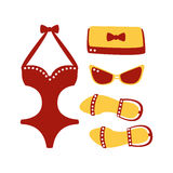 Swimsuit, glasses, bag, sandal, women beach accessories. Beach vacation. Colorful cartoon Illustration. Isolated on a white background Royalty Free Stock Photos