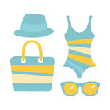 Swimsuit, glasses, bag, sandal, women beach accessories in light blue colors. Colorful cartoon Illustration. Isolated on a white background Stock Photos