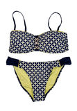 Swimsuit In Polka Dots. Isolate On White Stock Images