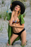Swimsuit model on the beach. Sexy swimsuit model on the beach Stock Images