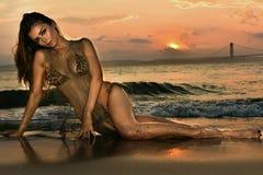 Swimsuit model posing at ocean beach location Stock Images