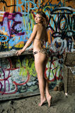 Swimsuit model posing sexy in front of graffiti background Royalty Free Stock Image