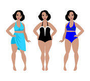 Swimsuit models for plus size women Stock Photo
