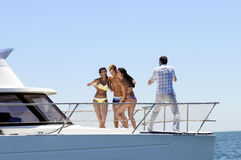 Swimsuit Photo Shooting on a Yacht Royalty Free Stock Images