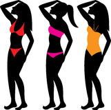 Swimsuit Silhouettes 1 royalty free illustration