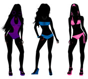 Swimsuit Silhouettes 3 royalty free illustration