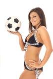 Swimsuit soccer latino model. Shot of swimsuit soccer latino model Royalty Free Stock Photography