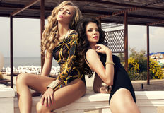 swimsuites的美丽的性感的女孩在夏天靠岸 免版税图库摄影