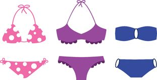Swimsuits. Three bikini swimsuits on white background Royalty Free Illustration