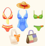 swimsuits and  beach handbags Royalty Free Stock Photography