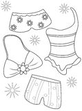 Swimsuits coloring page Royalty Free Stock Image