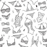 Swimsuits seamless pattern in ethnic ornate boho fashion style. Stock Photo