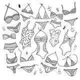 Swimsuits set in ethnic ornate boho fashion style. Royalty Free Stock Photography