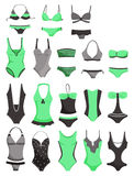 Swimsuits. A set of womens swimwear isolated on white background Stock Photo