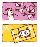 Swimsuits & sunbathing royalty free illustration