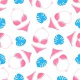 Swimwear en monsterablad Het naadloze patroon van de zomer Gebruikt voor ontwerpvlakken, stoffen, textiel, verpakkend document, b stock illustratie
