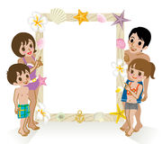 Swimwear Family pointing message board,Isolated Royalty Free Stock Photos