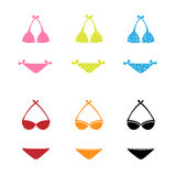 Swimwear icons. Set of colorful six swimwear icons for girls isolated on white background.EPS file available Royalty Free Stock Images