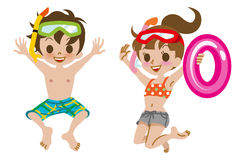 Swimwear Kids Jumping Isolated Royalty Free Stock Photography