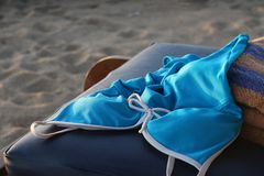 Swimwear on the Sandy Beach Stock Images