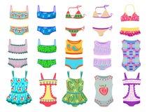 Swimwears for little girls. Set of swimwears for little girls isolated on white background Stock Photography