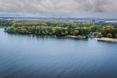 Swina River in Swinoujscie. Poland. View from lighthouse Stock Photo