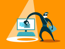 The swindler steals data. Business concept Royalty Free Stock Images
