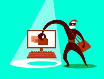 The swindler steals data. Concept illustration. Vector illustration Royalty Free Stock Photo