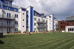 Swindon apartment block. UK, Wiltshire, Swindon, colourful modern style apartment block stock images