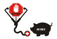 Swine flu. Awareness symbol for swine flu Royalty Free Stock Photos
